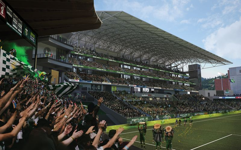 COURTESY: ALLIED WORKS ARCHITECTURE -  A rendering show how Providence Park's new east side stand might look in 2019 after a 2-0 win (one log slice per goal and one for a clean sheet). Construction on the foundation began in November right after the season ended. Construction will not affect match days, according to the club.