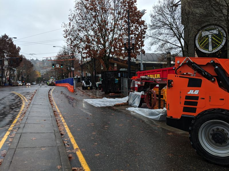 PAMPLIN MEDIA GROUP - Construction crews began work on Southwest 18th Avenue recently to build the foundation for Providence Park's new east stand.