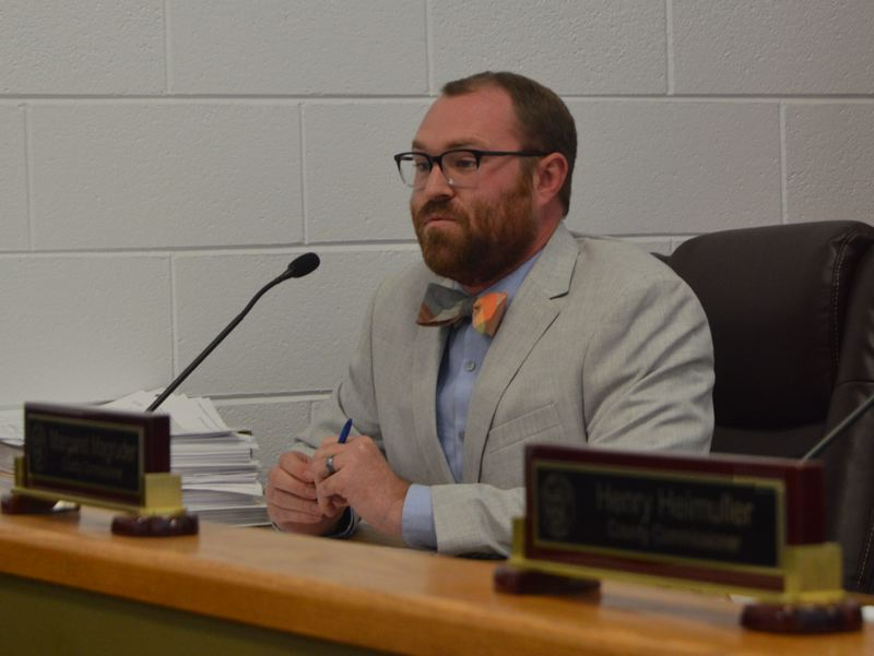 SPOTLIGHT PHOTO: COURTNEY VAUGHN - Columbia County Commissioner Alex Tardif explains his 'no' vote on a proposed Port Westward expansion during deliberations Wednesday, Nov. 29.