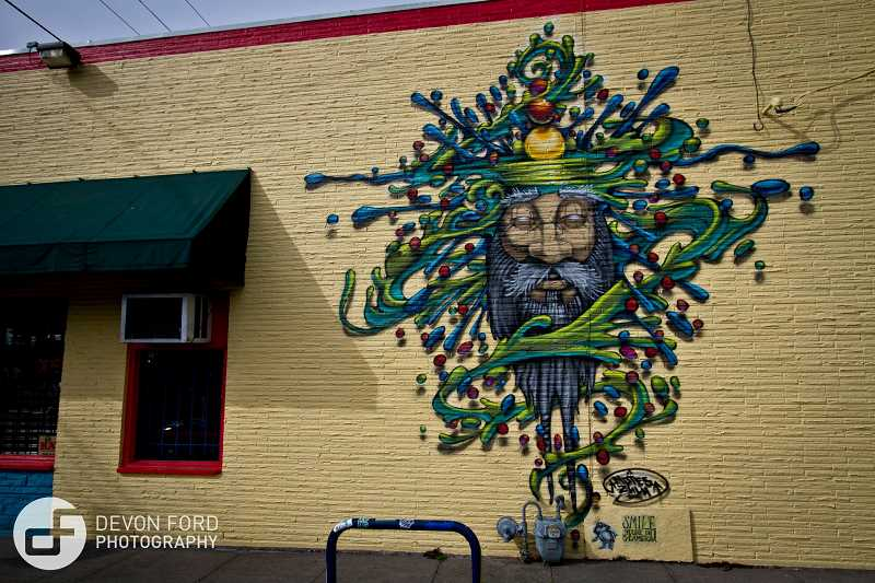 CONTRIBUTED PHOTO - Derek Leitch creates art on various mediums, mural art on buildings is one of them.