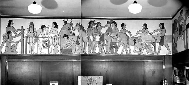 COURTESY PHOTO - Lamade's 'Pageant of Oregon History,' painted as part of a WPA project, stretches for 300 square feet around what was the Abernethy School's library. It has been covered by interior paint for more than 50 years.