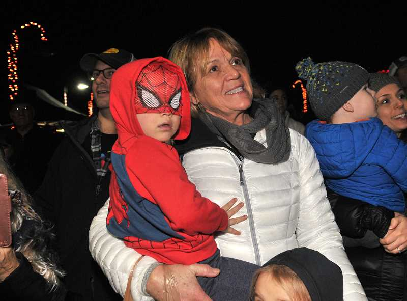 Denise Bray and her grandson Owen Neihart watch as the Millennium Plaza Park tree is lit.