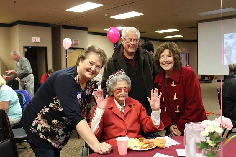 HERALD PHOTO: KRISTEN WOHLERS - Grace Burnham poses with her daughter-in-law Lynn Burnham and Frank and Kathe Cutsforth at her birthday party on Saturday, Nov. 18.