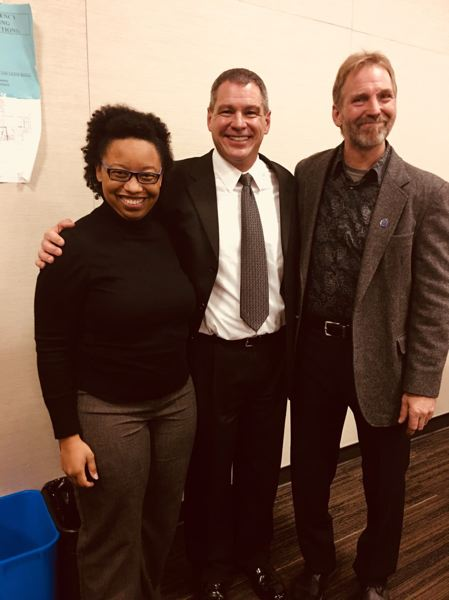 CONTRIBUTED PHOTO - Dr. Brandy Ethridge, chief of staff and legislative assistant, Rep. Jeff Helfrich, and (former) Mayor of Cascade Locks and artist Brad Lorang.