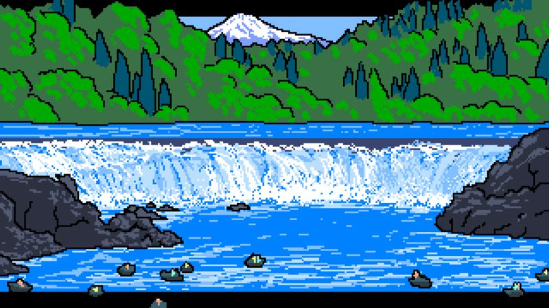 COURTESY: HINGE/TRAVEL OREGON - Scenes from the Travel Oregon: The Game used to promote the state on Travel Oregon's website. Willamette Falls of Oregon City is strategically reoriented with a vista of Mount Hood.
