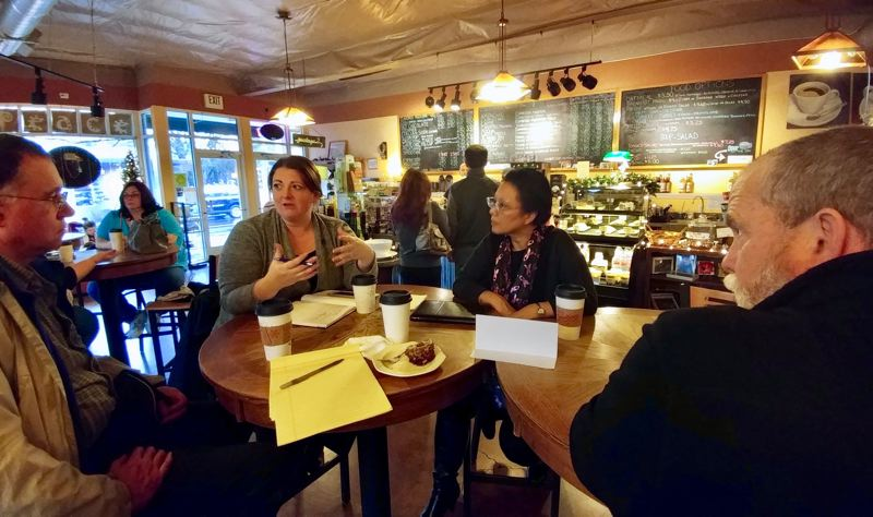 OUTLOOK PHOTO: CHRISTOPHER KEIZUR - Multnomah County Commissioner Lori Stegmann met with her constituents at downtown Gresham's Cafe Delirium to discuss housing.