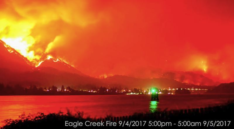 FILE PHOTO - The Eagle Creek Fire lit up the night sky on Monday, Sept. 4.