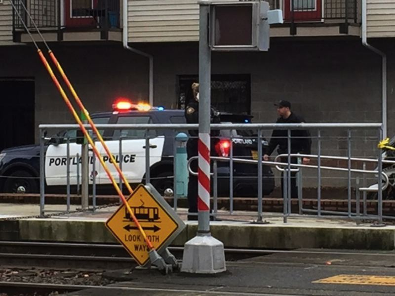 KOIN 6 NEWS PHOTO - Gresham police said a man fired a gun at two people at the 172nd Avenue MAX platform in Gresham on December 1, 2017.