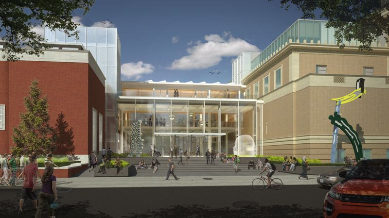 COURTESY: PORTLAND ART MUSEUM - A rendering of the future Rothko Pavilion at the Portland Art Museum, looking east from Southwest 10th Avenue. It was designed to link the two main buildings at every floor level and provide a common space. But the public, especially dog and bike lovers, have pushed back against the museum's plans to close the pavilion to them after hours. Museum boss Brian Ferriso will go before city council on December 7 to make the case for keeping it open longer hours, but still not 24/7. The pavilion is the most visible part of a $50 million remodel.