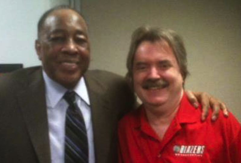 COURTESY: RICH 'THE CAPTAIN' PATTERSON - Steve Jones (left), in a visit to Portland and with Blazers Broadcasting radio network producer Rich Patterson.