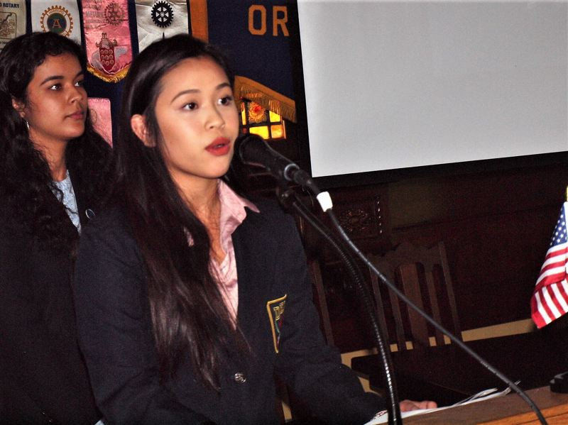 PHOTO COURTESY: NCSD - Sabin-Schellenberg Center advanced business/management students Brenda Ramirez-Sanchez and Shayla Hoang present at a Clackamas Rotary Club meeting last month.
