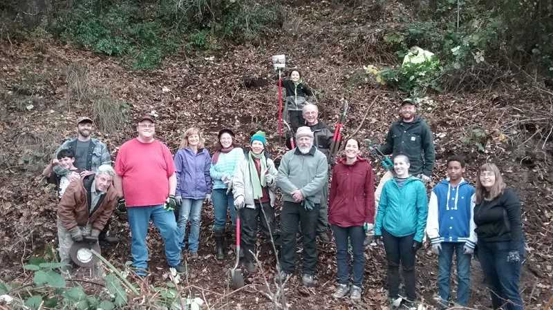 SUBMITTED PHOTO - Members of Friends of Nob Hill Nature Park and Scappoose Bay Watershed Council pose for a photo Nov. 4 during a work party at the nature park.