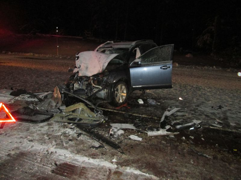 CONTRIBUTED PHOTO: OREGON STATE POLICE - One passenger of the 2013 Subaru outback, a 9-year-old boy, was pronounced deceased at the scene and the driver and other passenger were hospitalized.