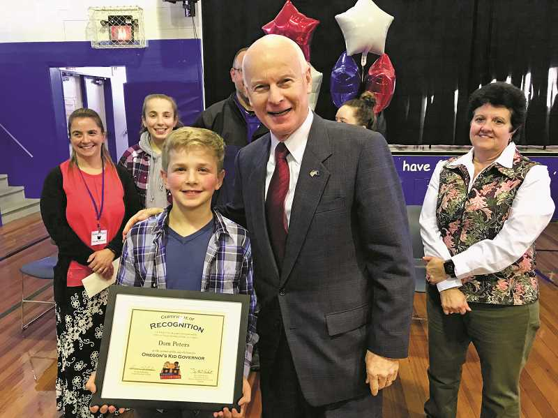 COURTESY PHOTO: SECRETARY OF STATE'S OFFICE - Oregon's new Kid Governor Dom Peters (left) pictured Nov. 27 with Oregon Secretary of State Dennis Richardson.