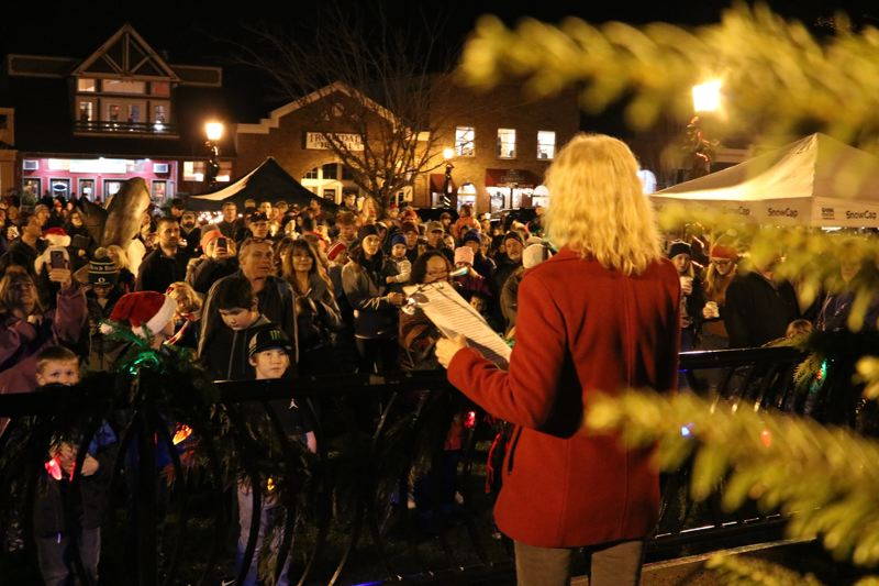 OUTLOOK PHOTO: ZANE SPARLING - West Columbia Gorge Executive Director Karen Young thanked the Gresham Fire Department 'for ensuring Santa arrives on time' before the annual tree lighting off the Historic Columbia River Highway.