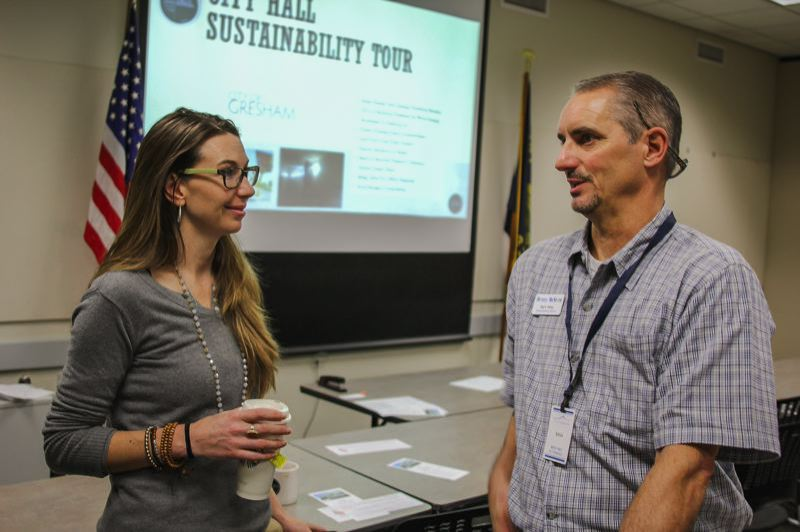 FILE PHOTO - Shaunna Sutcliffe from the city of Gresham and Mark Haley talk sustainability.