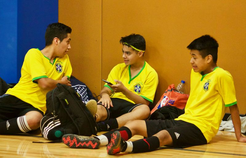 OUTLOOK PHOTO: CHRISTOPHER KEIZUR - Usually around 70 children attend the indoor soccer tournaments every Sunday, forming teams with their friends.