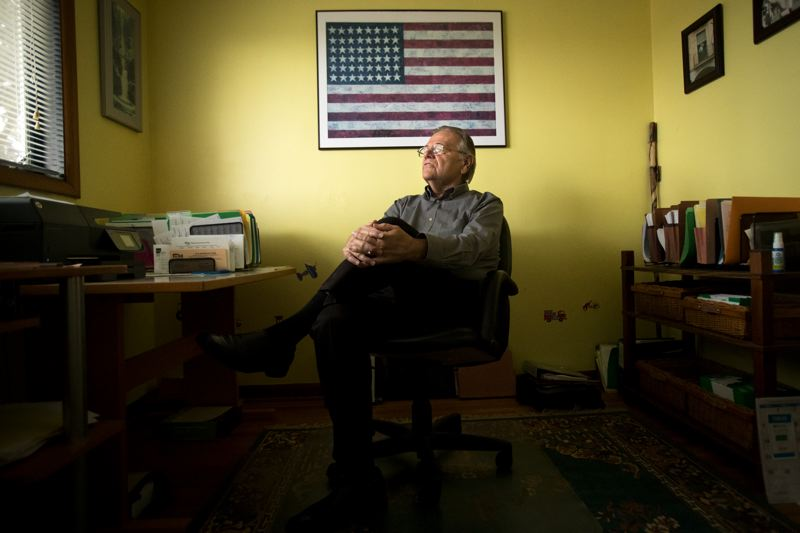 PORTLAND TRIBUNE: JAIME VALDEZ - Richard 'Dick' Baldwin sits in his home office in Northeast Portland. Baldwin recently retired from the Oregon Supreme Court.