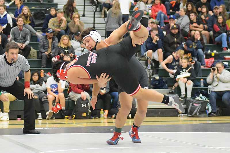 LON AUSTIN/FOR THE PIONEER - With three guys hovering in the same weight class, Victor Torres (above) volunteered to swing up to the 182-pound bracket at last Saturday's Central Oregon Officials Tournament, and managed a third-place finish.