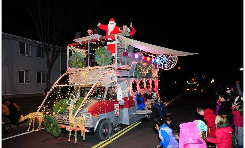HOLLY GILL/MADRAS PIONEER - Jeff Hurd's 'Space Ambulance' won the rotating trophy for the Best in Show at the Madras Christmas Lights Parade.
