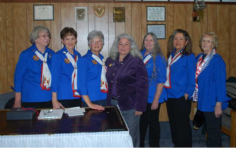 SUBMITTED PHOTO - VFW Auxiliary members at the luncheon included, from left, Judith Bowden, Jan McDonald, Judy Hellwig, National VFW Auxiliary PresidentDee Guillary, Denise Keeton, Cheryl Lohman and Louise Muir.