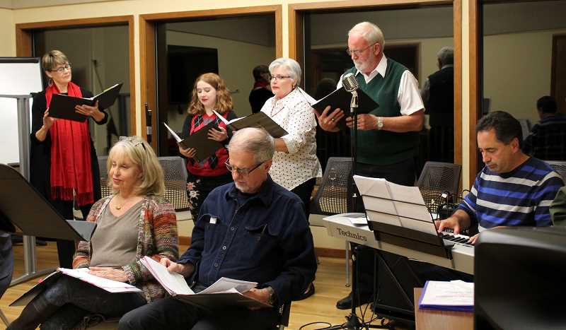 SPOKESMAN PHOTO: CLAIRE GREEN - The cast of A Christmas Pudding are gearing up for eight shows around Wilsonville, beginning Dec. 8 at Meridian United Church of Christ.