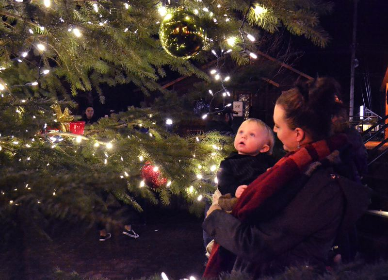 POST PHOTO: BRITTANY ALLEN  - Jenni Heller and her son Caydon enjoy the tree decorations after the Friday festivities.