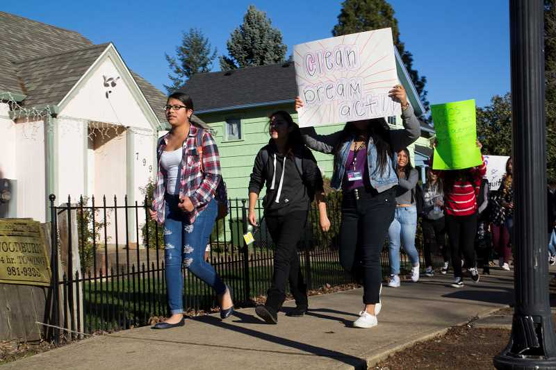 INDEPENDENT PHOTO: JULIA COMNES - The students aimed to get the attention of the school district, which they claim hasn't done enough in support of DACA recipients.