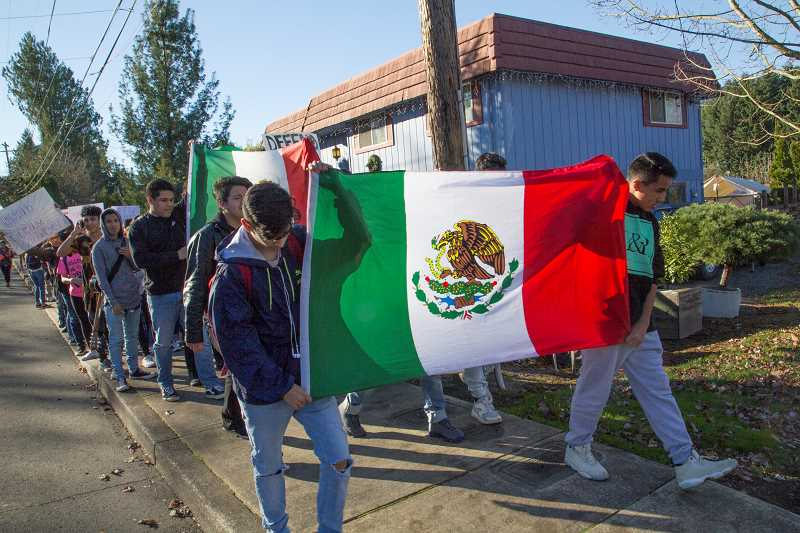 INDEPENDENT PHOTO: JULIA COMNES - Organizers of the walkout said the student body of the Woodburn School District, which is about 80 percent Latino, will be greatly affected if the DREAM Act isn't passed.