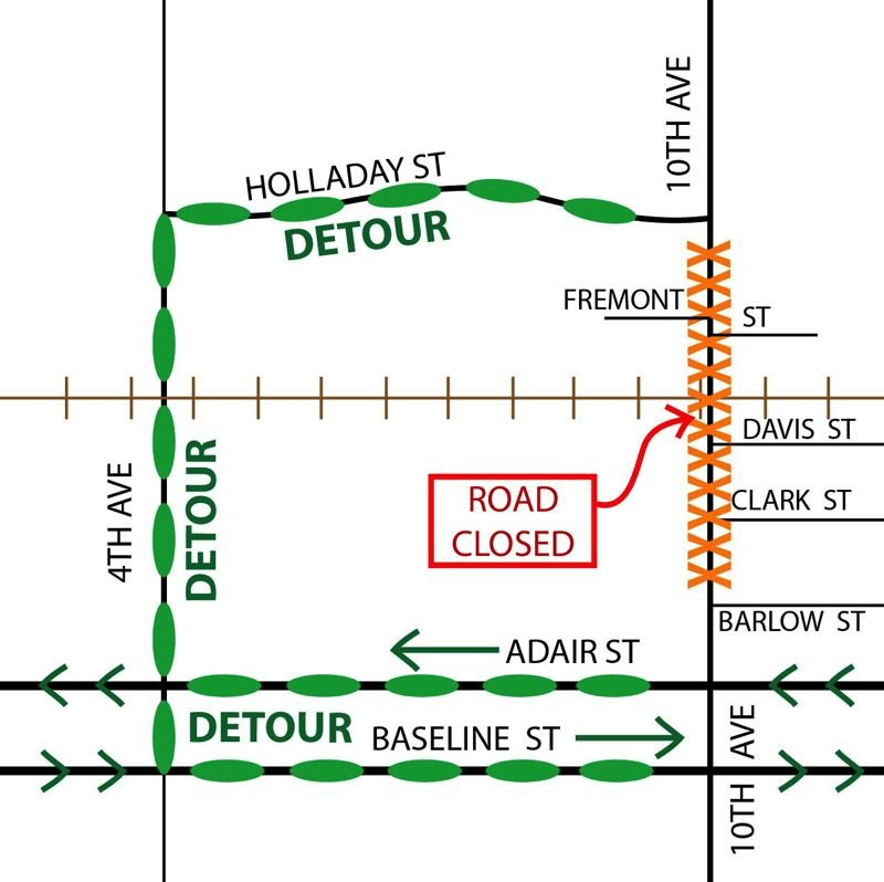 COURTESY OF WASHINGTON COUNTY - A map shows, marked with orange Xs, the location of the closure of 10th Avenue in Cornelius and, marked with orange ovals, the detour routes set up for traffic to avoid it.