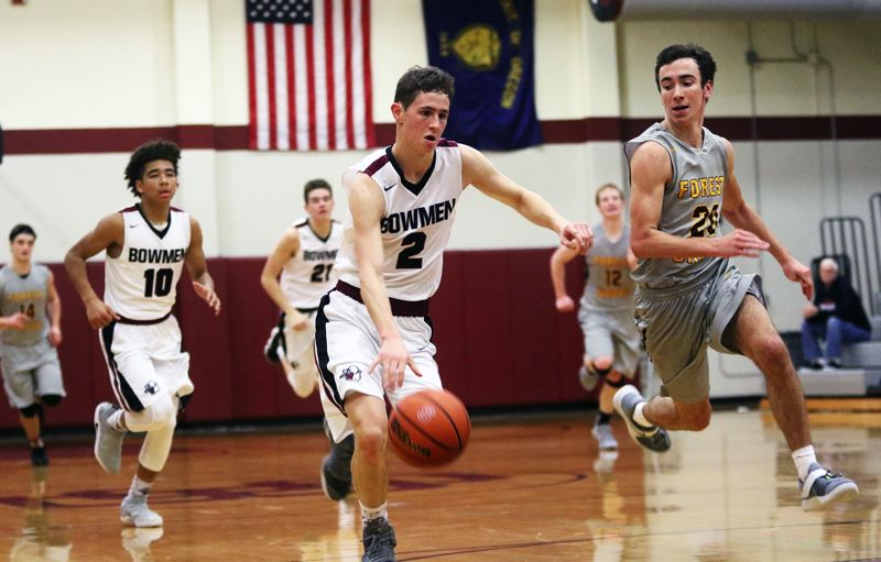 DAN BROOD - Sherwood senior Tyler Thiebes leads a fast break during the victory over Forest Grove.