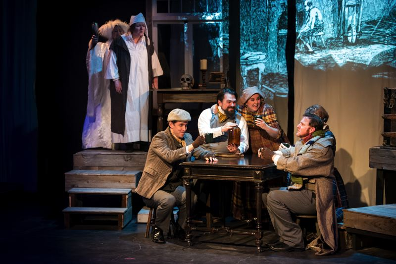 COURTESY PHOTO: CASEY CAMPBELL PHOTOGRAPHY - From left, Jessica Geffen, Kymberli Colbourne, Andrew Beck, Peter Schuyler, Jessi Walters, Joey Copsey and Morgan Cox are the cast of 'Charles Dickens Writes A Christmas Carol.'