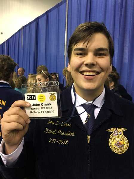 SUBMITTED PHOTO: MACKENZIE BEHRLE - Molalla FFA member John Cross participated in the National FFA Band at the National Convention Oct. 23-29.
