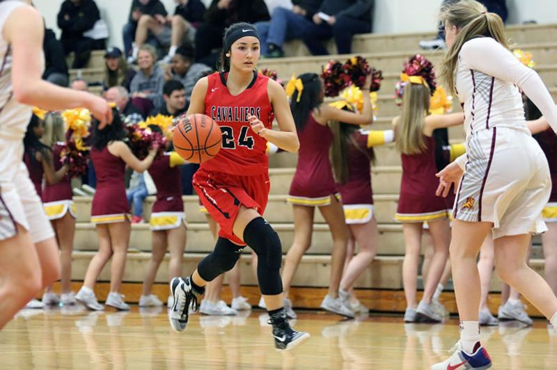 REVIEW PHOTO: JIM BESEDA - Clackamas' Alyson Miura and the Cavaliers have risen to third in the most recent Class 6A girls basketball coaches poll.