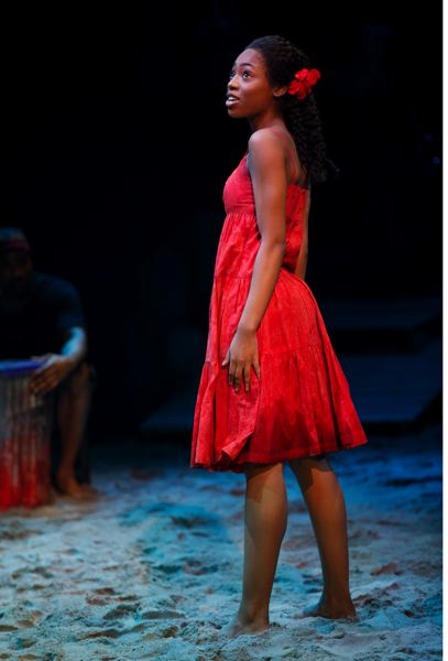 PHOTO BY JOAN MARCUS - Hailey Kilgore plays the crucial role of Ti Moune in the revival of 'Once On This Island,' currently running on Broadway in New York City.