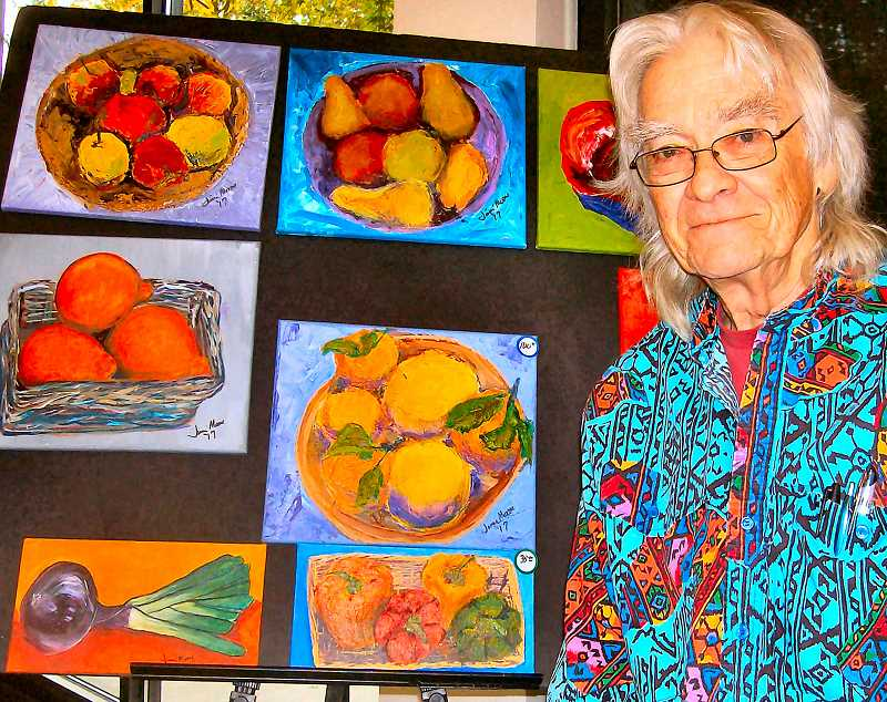 RITA A. LEONARD - Jimmy Moore painted, and offered for sale, bright acrylic fruits and vegetables at the Westmoreland Union Manor Craft and Artisan Fair.