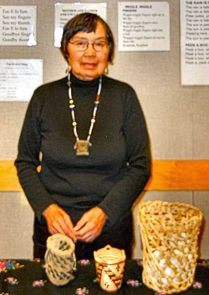 ELIZABETH USSHER GROFF - Pat Courtney Gold, an internationally recognized native Wasco artist, spoke at the Woodstock Branch Library about the strengths of Native American women.