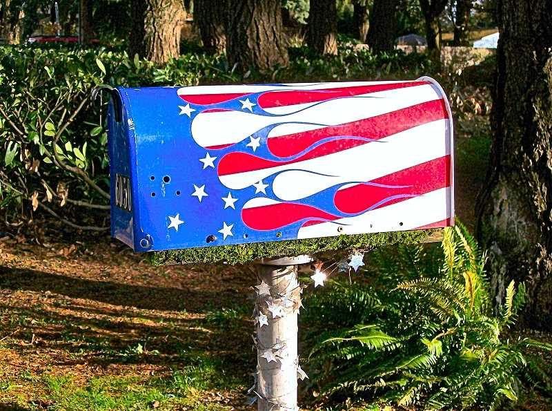 RITA A. LEONARD - This patriotic mailbox on S.E. Harney Street celebrates in color – red, white, and blue, with stars.