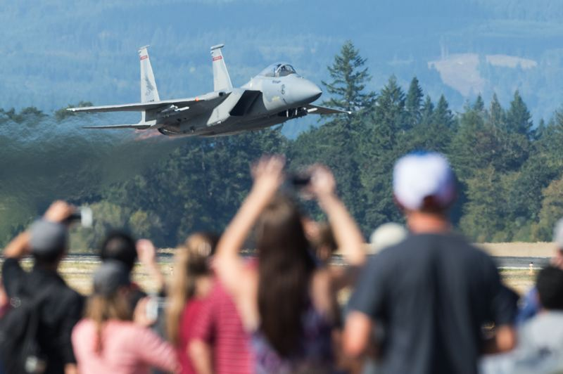 PAMPLIN MEDIA GROUP FILE PHOTO: CHRISTOPHER OERTELL - An Oregon Air National Guard F-15 takes off during the Oregon International Air Show. The Canadian Forces' Snowbirds jet team will headline the 2018 show.