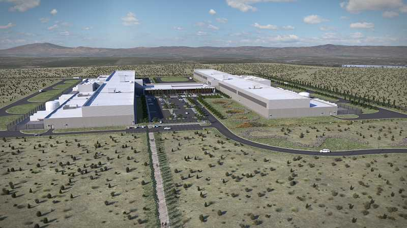 IMAGE COURTESY OF FACEBOOK - An artist's rendering of Prineville Data Center buildings four and five, which total 900,000 square feet, plus 70,000 square feet for an administrative space connecting the two buildings. Construction begins this month on building four.