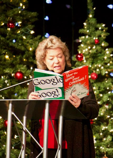 OUTLOOK PHOTO: CHRISTOPHER KEIZUR - Lynn Snodgrass, Gresham Chamber CEO, helped host the Chirstmas Breakfast event. Many of her lines ended in a rhyme.