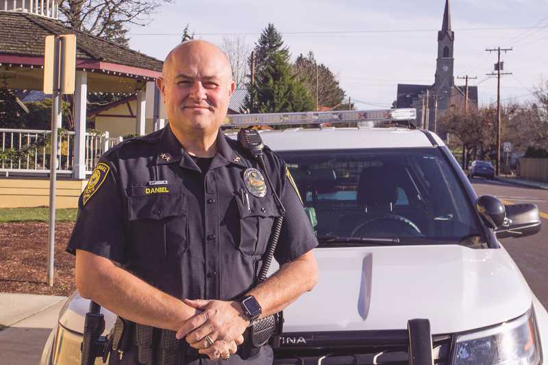 INDEPENDENT PHOTO: JULIA COMNES - Mark Daniel, who is Mount Angel's new police chief, says he looks forward to leading the city's small police department.