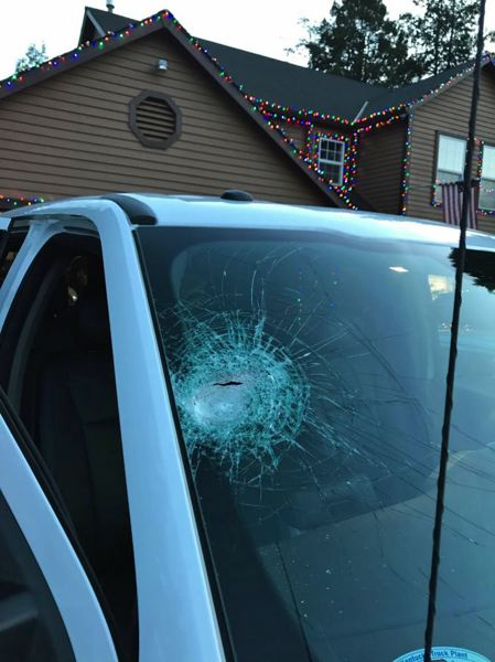 PHOTO: OREGON STATE POLICE - A windshield damaged by an object thrown from an overpass.