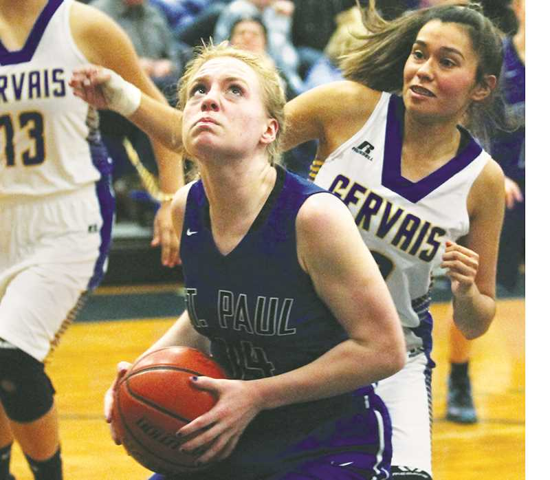 PHIL HAWKINS - WOODBURN INDEPENDENT - Isabelle Wyss posts up during St. Paul's 44-20 win over Gervais Dec. 6. The Bucks also topped New Hope Christian and Southwest Christian last week to improve to 5-0.