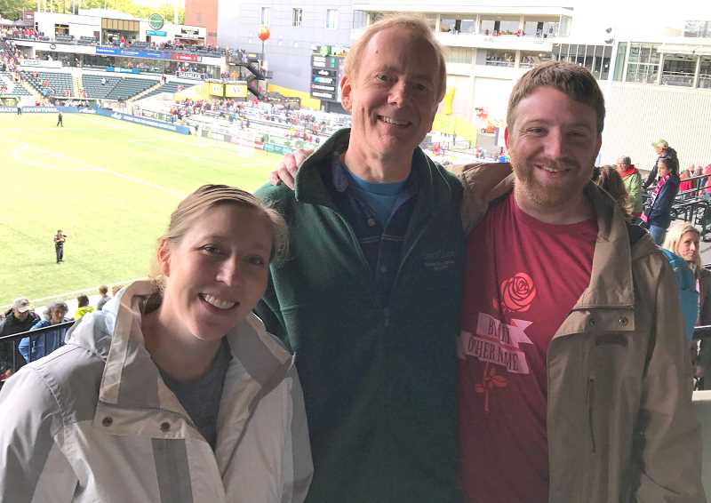 SUBMITTED PHOTO: JIMMY YOUNG - Annette Young, Dave Knierim and Jimmy Young at a Portland Thorns match.