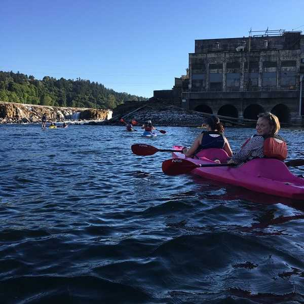 SUBMITTED PHOTO - Since it was created in May, the group has already gone on a number of adventures like this kayak trip near the Willamette Falls.