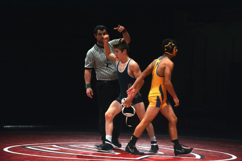 TIMES PHOTO: MATT SINGLEDECKER - Westview junior Joey Coste was by first period fall against Aloha last week at Westview High School in Metro League action.