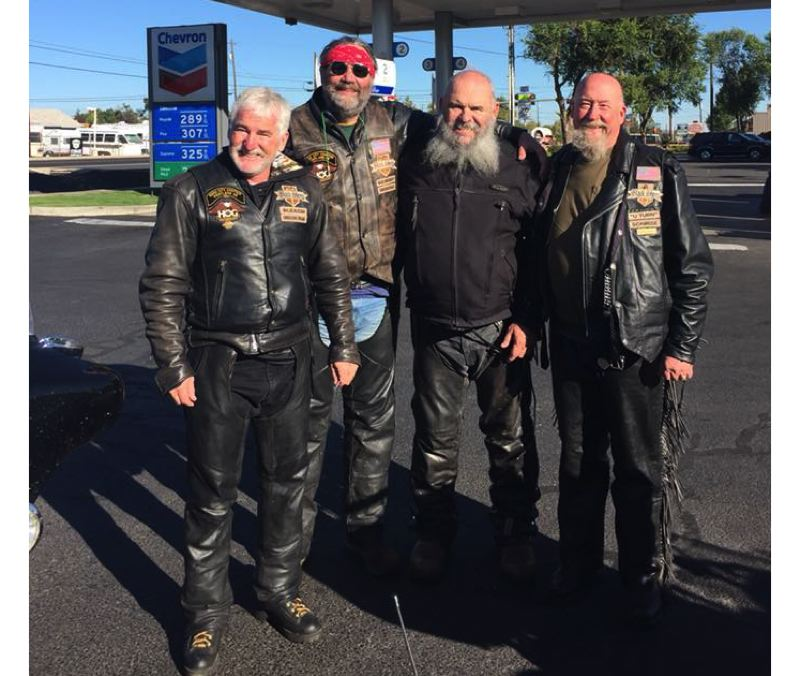 PHOTO COURTESY: KATHRYN EASTWOOD - Rod Meyer (from left), Troy Eastwood, Rick Barr and Gary May on a Black Sheep ride in September 2017.