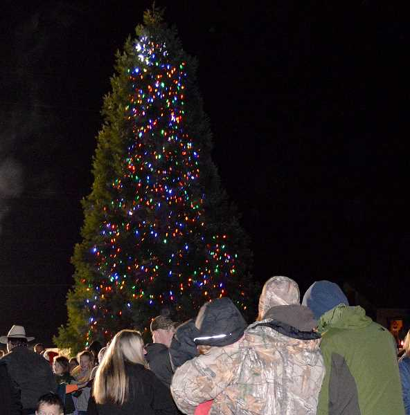PIONEER PHOTO: CINDY FAMA - Colton community members gathered last Thursday to light the town tree.