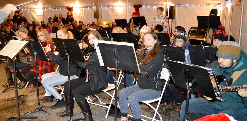 PIONEER PHOTO: CINDY FAMA - The CHS band played at the tree lighting last Thursday.